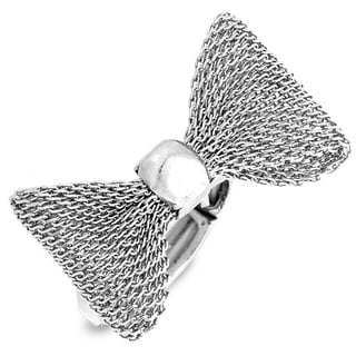 Silvertone Mesh Bow Tie Stretch Ring