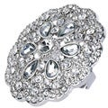 Silvertone Crystal Flower Medallion Ring