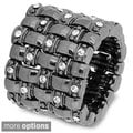 Stretch Basket Weave Crystal Accent Stretch Ring