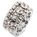 Silvertone Stacked Crystal Stretch Ring