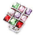Silvertone Multi-colored Crystal Stretch Ring