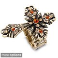 Antiqued Vintage Cross Multi-Colored Crystal Ring