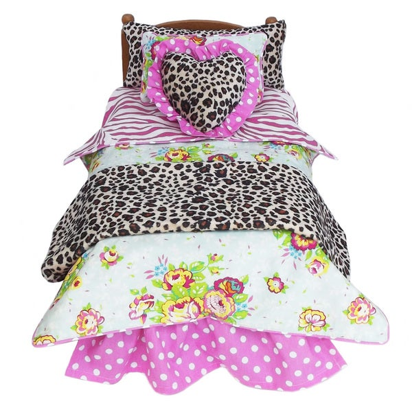 AnnLoren Floral Zebra Leopard Doll Bedding Set