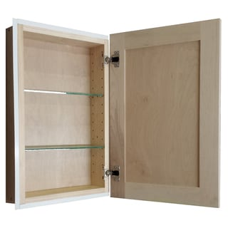 Recessed 22-inch Natural Finish In the Wall Frameless Medicine Cabinet