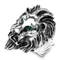 Silvertone Ferocious Lion Crystal Eyed Stretch Ring