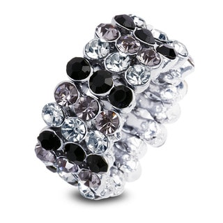 Silvertone Stacked Multi-Color Crystal Stretch Ring