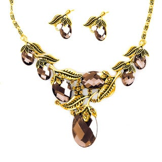 Goldtone Topaz Resin Stone Vintage-styled Flower Jewelry Set