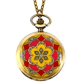 Brasstone Pocket Watch Clock Crystal Medallion Necklace