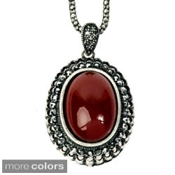 Silvertone Red Resin and Grey Crystal Trim Necklace
