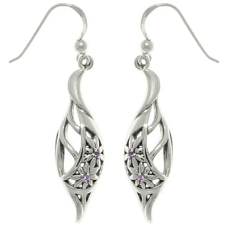 CGC Sterling Silver Elegant Flowers with Amethyst Dangle Earrings