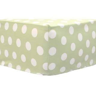 My Baby Sam Pixie Baby Crib Sheet in Green Polka Dot