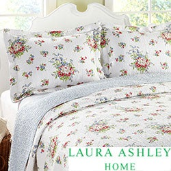 Laura Ashley 3-piece Roseland Floral Cotton Reversible Quilt Set