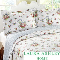 Laura Ashley 3-piece Roseland White Floral Cotton Reversible Quilt Set