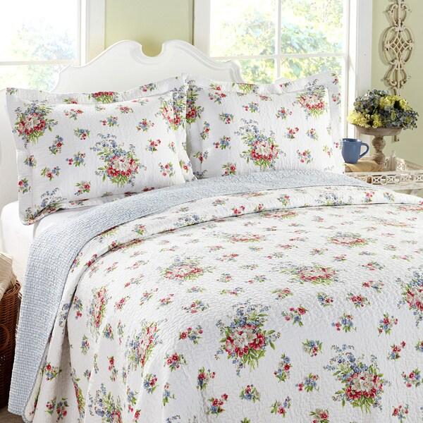 Laura Ashley 3-piece Roseland White Floral Cotton Reversible Quilt Set