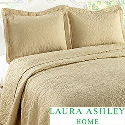 Laura Ashley 3-piece Cotton Beige Quilt Set
