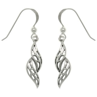 CGC Sterling Silver Swirling Leaves Dangle Earrings