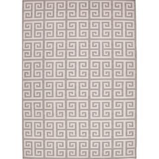 Handmade Flat Weave Geometric Pattern Gray/ Black Rug (9' x 12')