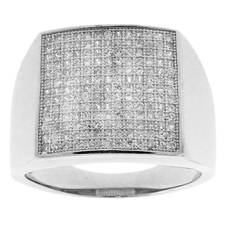 Silvertone with Rhodium Sparkling Micro Pave Clear CZ Ring