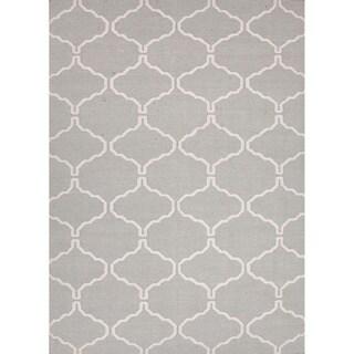 Handmade Flat Weave Moroccan Pattern Blue/ Grey Rug (5' x 8')
