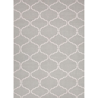 Handmade Flat Weave Moroccan Pattern Grey/ White Rug (3'6 x 5'6)
