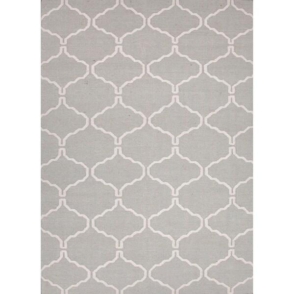Handmade Flat Weave Moroccan Pattern Grey White Rug 36