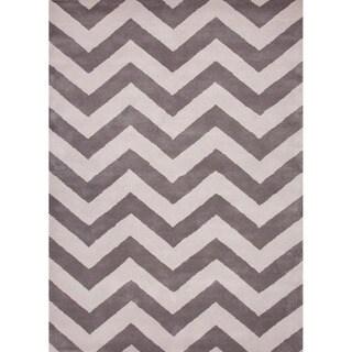 Hand-tufted Contemporary Geometric Grey/ black Rug (8' x 11')