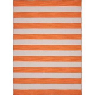 Handmade Flat Weave Stripe Pattern Grey/ orange Rug (8' x 10')
