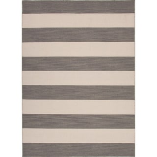 Handmade Flat Weave Stripe Pattern Gray/ Black Rug (8' x 10')