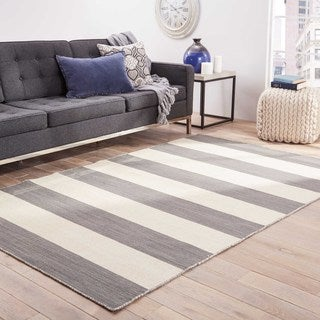 Handmade Flat Weave Stripe Pattern Gray/ Black Rug (4' x 6')