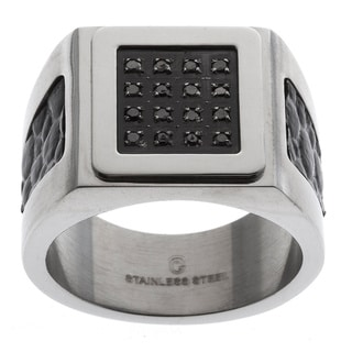 Stainless Steel Men's 1/7 ct TDW Black Diamond and Textured Leather Ring