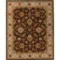 Hand-tufted Traditional Oriental Pattern Brown Rug (9' x 12')