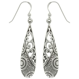 CGC Sterling Silver Mixed Texture Long Dangle Earrings