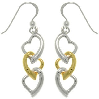 CGC Sterling Silver Gold-plated Three Heart Earrings