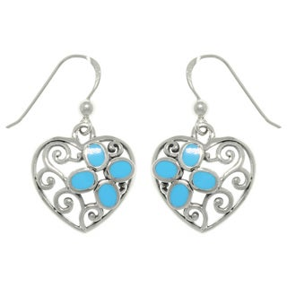 CGC Sterling Silver Filigree Heart with Turquoise Earrings