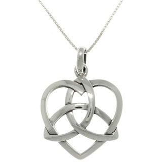 Carolina Glamour Collection Sterling Silver Celtic Trinity Heart Necklace