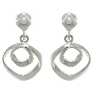 CGC Sterling Silver Free Form Circles Dangle Earrings