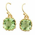 Gold Overlay Green Cubic Zirconia Dangle Earrings