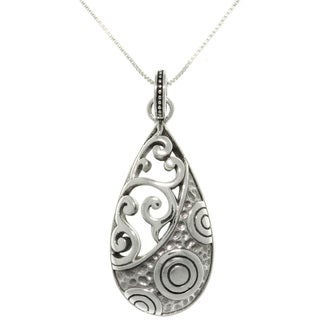 CGC Sterling Silver Mixed Texture Teardrop Pendant Necklace