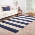 Handmade Flat Weave Stripe Pattern Blue Rug (9' x 12')