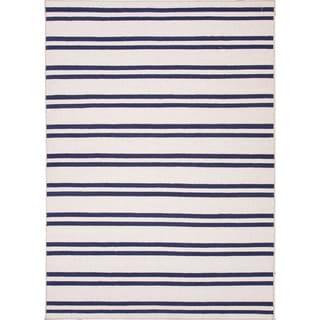 Handmade Flat Weave Stripe Pattern Ivory Rug (9' x 12')