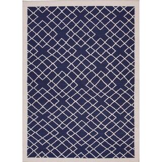 Handmade Flat-weave Geometric-pattern Blue Area Rug (9' x 12')