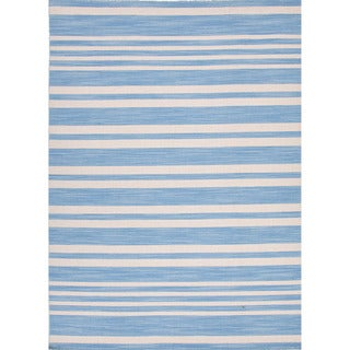 Handmade Flat-weave Stripe-pattern Light Blue Rug (9' x 12')