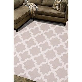 Handmade Flat Weave Geometric Pattern Grey/ White Rug (9' x 12')