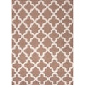 Handmade Flat-weave Geometric-pattern Brown Area Rug (9' x 12')