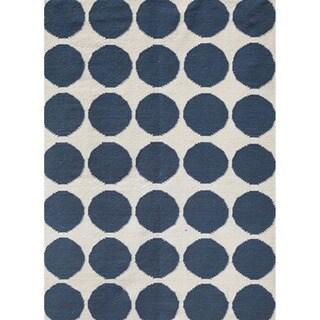 Handmade Flat-weave Geometric-pattern Rectangular Blue Rug (9' x 12')