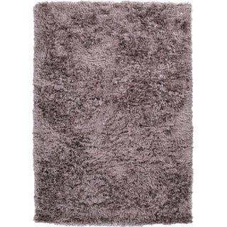 Handwoven Shags Solid Pattern Gray/ Black Polyester Rug (9' x 12')