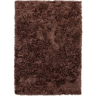 Hand-woven Shags Solid Pattern Brown Rug (9' x 12')