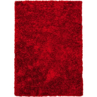 Hand-woven Shags Solid Pattern Red/ Orange Rug (9' x 12')