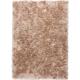 Handwoven Shags Solid Pattern Brown Area Rug (9' x 12')