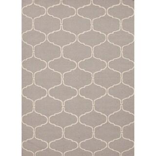 Handmade Reversible Flat-weave Geometric-patterned Gray/ Black Rug (9' x 12')